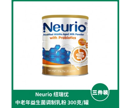【1件包邮】Neurio 纽瑞优 中老年益生菌调制乳粉 300克x3罐