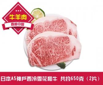 【直发中国 】日本A5神户西冷雪花和牛 共约650克(2片装)