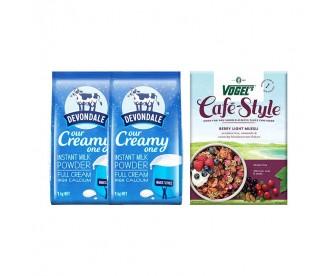 【新西兰直邮包邮】Devondale 德运 全脂奶粉 1公斤x2袋+Vogel's 沃格尔 水果果仁燕麦片 浆果口味 400克/盒
