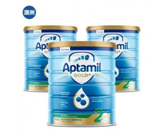 【澳洲直邮包邮】Aptamil 爱他美 金装2段 900克x3罐/箱(6-12个月以上适用)