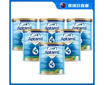 【澳洲直邮包邮】Aptamil 爱他美 金装2段 900克x6罐/箱(6-12个月适用)