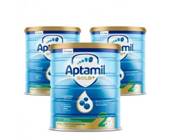 【新西兰直邮包邮】Aptamil 爱他美 金装2段 900克x3罐/箱(适合6-12个月婴儿) 【奶粉订单身份证必须上传】