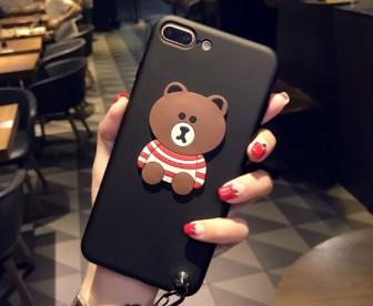 【苹果7/8/7/8Plus】可爱熊情侣壳苹果手机壳软壳挂绳创意潮