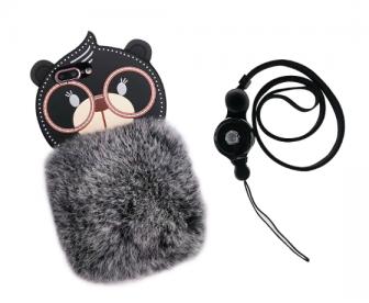 【苹果7/8Plus】卡通熊手机壳全包獭兔毛挂绳防摔