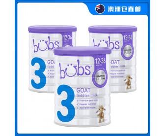 【澳洲直邮包邮】Bubs 婴儿山羊配方奶粉3段 800克x3罐/箱(1-3岁适用)