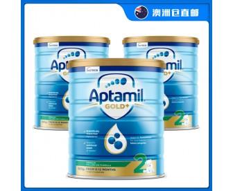 【澳洲直邮包邮】Aptamil 爱他美 金装2段 900克x3罐/箱(6-12个月)